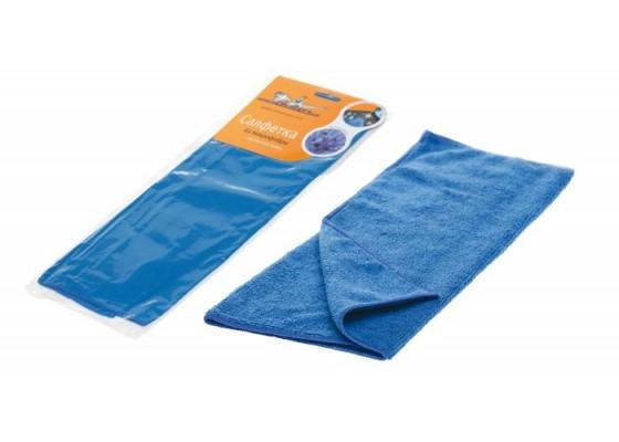 Салфетка из микрофибры двухсторонняя синяя (35*40 см), AB-A-01