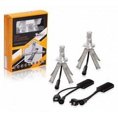 Лампа H4 LED, комплект 2шт., светодиодная 12В 2х18Вт 6500К 5000Лм белая PREMIUM, ALED-H4-03