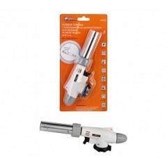 Газовая горелка с пьезоподжигом на цанговый баллон, анти-вспышка, регулятор воздуха, 20*6*4 см, AGT-03